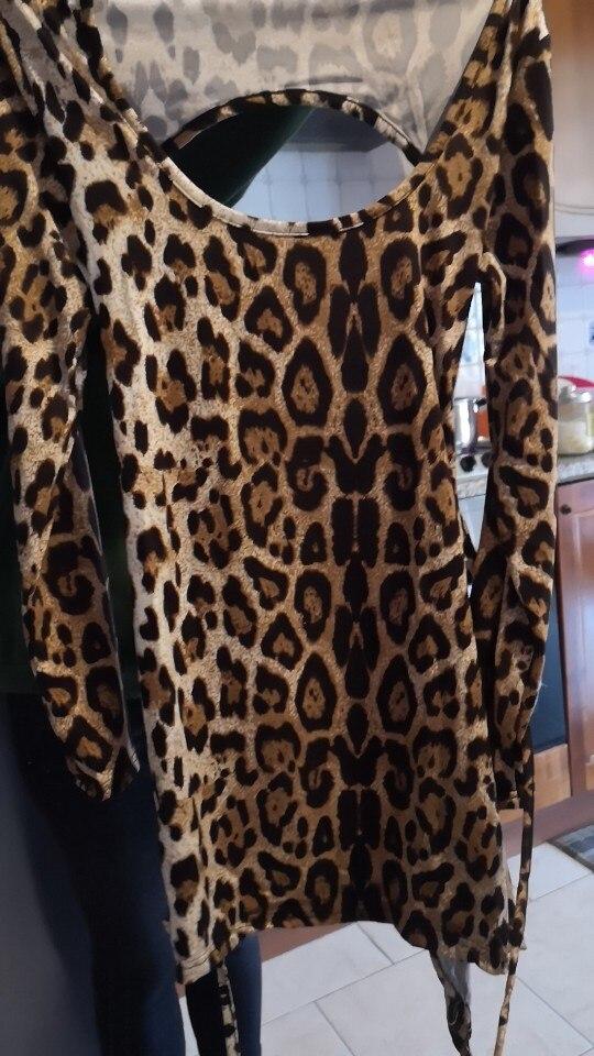 Meihuida Women Sexy Leopard Mini Dress Long Sleeve O-Neck Backless Skinny Stretch Short Dresses Night Club Sex Wear reviews №1 505087