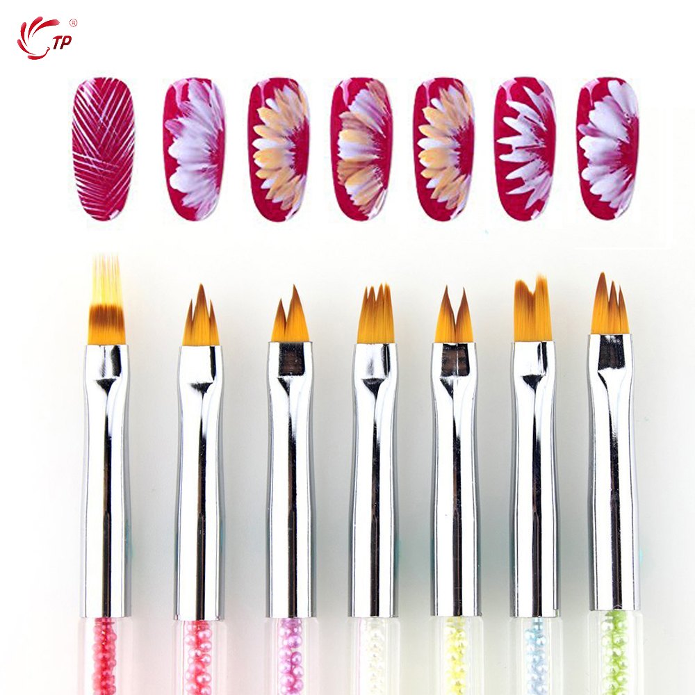 TP 7pcs/set Dual Head Nail Art Painting Dotting Brush Acrylic 3D French Flower Petal Drawing Sequins Decor Pick Up Brushes Kit