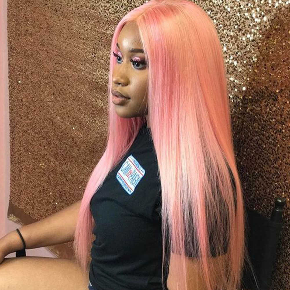 JRX Hair Long Silky Straight Pink Human Hair  Lace Front Wig For Black Women Hair Wig