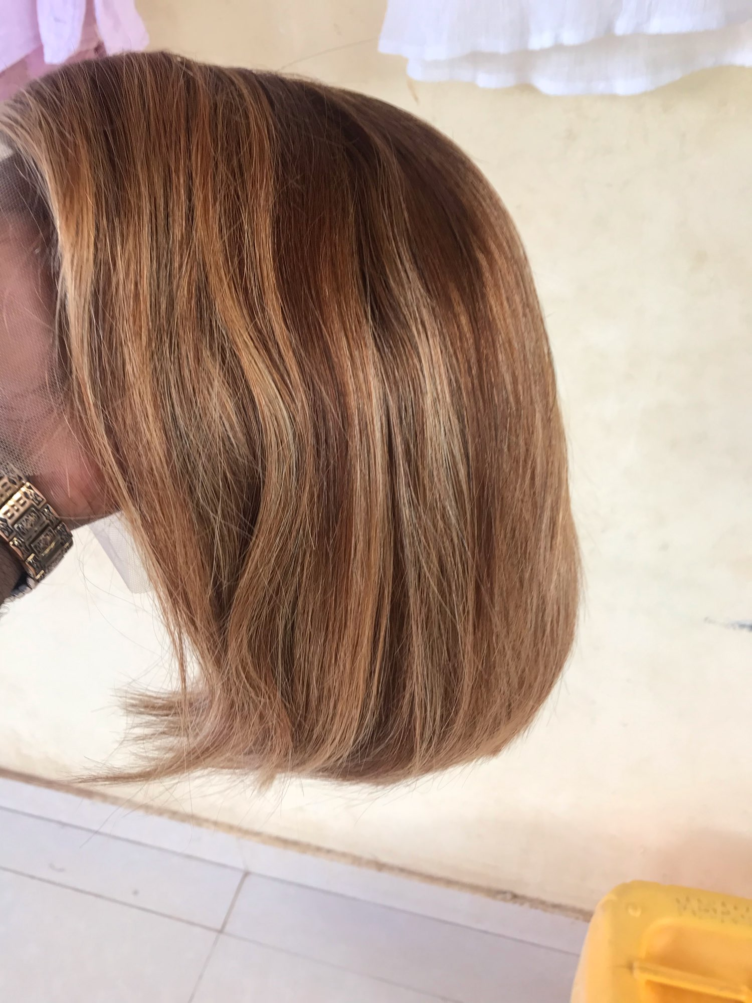 Highlight Human Hair Wigs Bob Short Straight Color 4/27 Ombre Brown 150% Remy 13x1 T Part Lace Brazilian Highlight Wig photo review