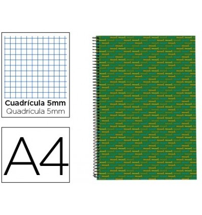 SPIRAL NOTEBOOK LEADERPAPER A4 MICRO MULTILIDER LINED TOP 140H 80GSM TABLE 5MM 5 BANDS 4 HOLES GREEN