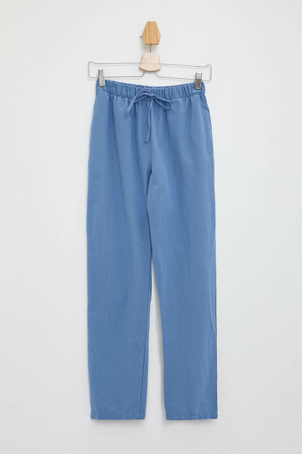 DeFacto Casual Woman Fashion Trousers Female Casual Drawstring Loose Pants Comfort Pure Color Crop Pant New - L7329AZ19HS