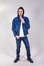 Men's Hooded Blue Denim Jacket 30062