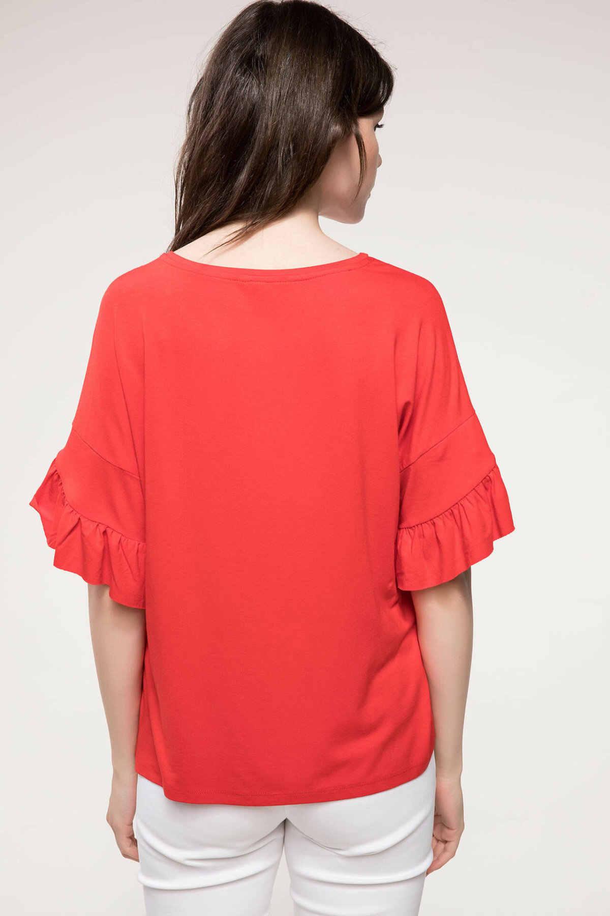 DeFacto Vrouwen Mode Crewneck Tops Vrouwelijke Toevallige Losse Roze Mouw Dames Elegante T-Shirt Zomer Nieuwe-J3178AZ18SM