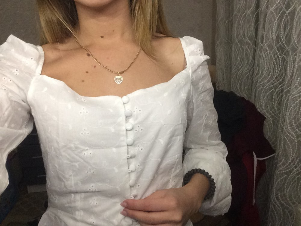 Sexy Square  Neck Long Sleeve Lace Crochet Blouse Shirt Women Button Down White Crop Tops Summer High Street Blusas 2019 photo review