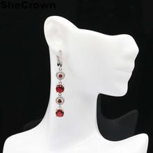 57x7mm 2019 Hot Sell Created Red Blood Ruby Natural CZ Gift For Woman's Jewelry Making Silver Earrings