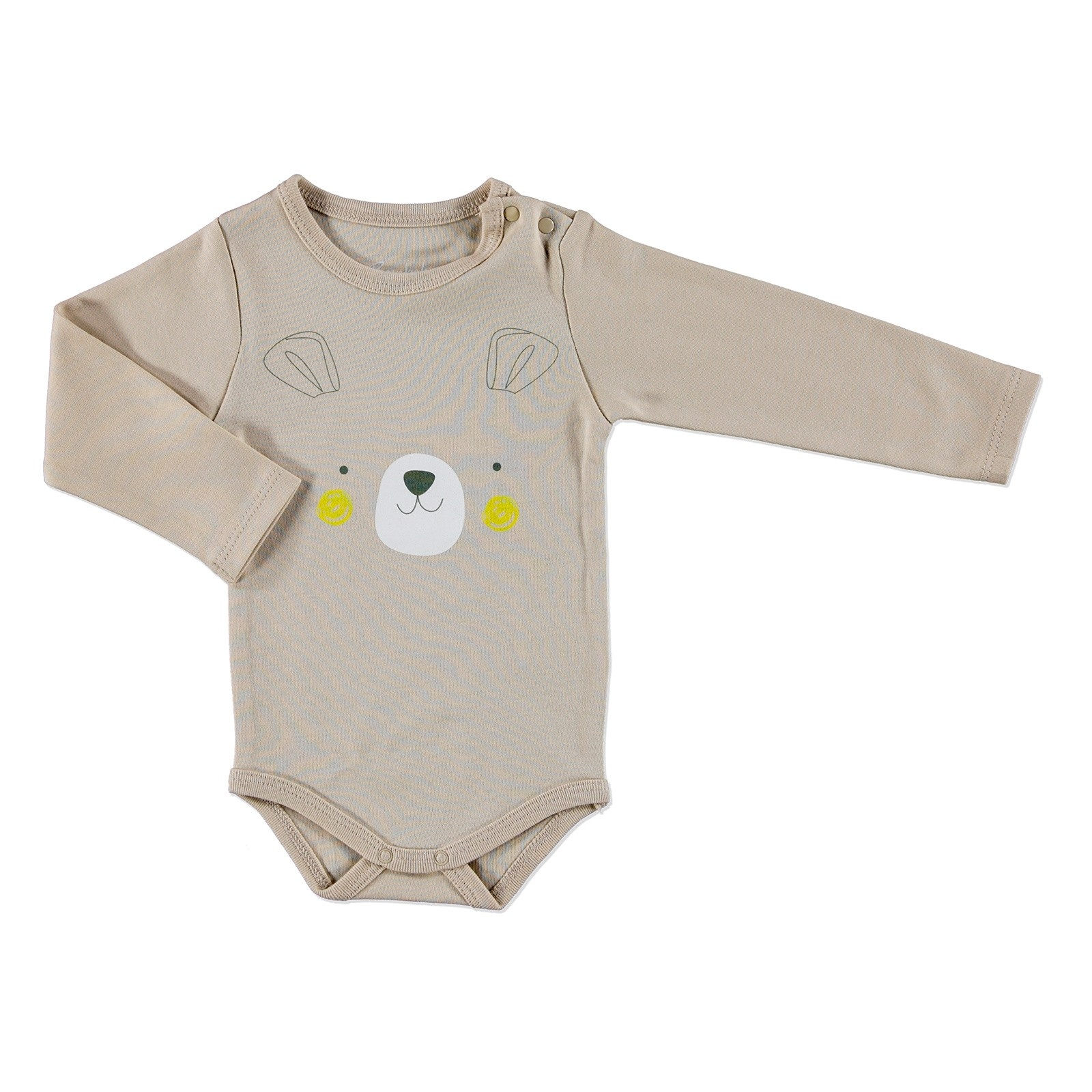 Ebebek Bambaki Scout Bear Baby Boy Long Sleeve Snaps Ear Bodysuit