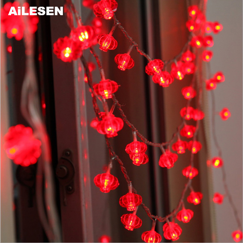 AiLESEN Traditional Red Lantern LED String Light Christmas USB/Battery Operated Party Supplies Chinese New Year Decoration
