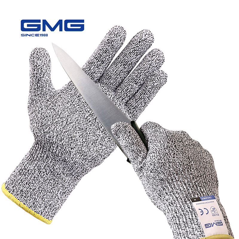 Anti corte à prova luvas venda quente gmg cinza preto hppe en388 ansi anti-corte nível 5 luvas de trabalho de segurança corte luvas resistentes