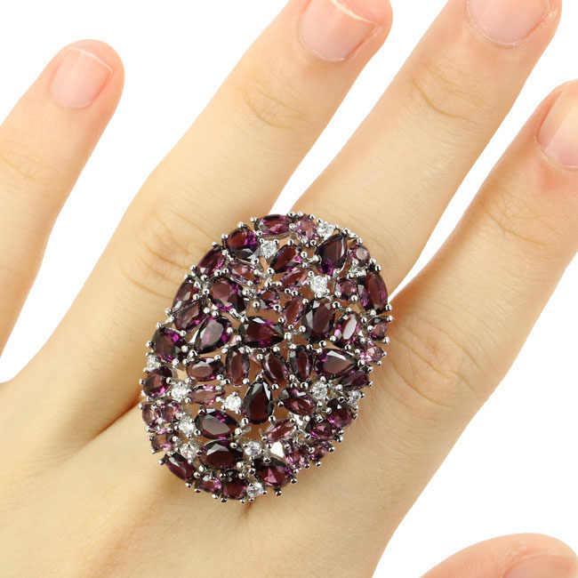 38x27 мм большие фиолетовые Аметистовые натуральные CZ женские вечерние серебряные кольца