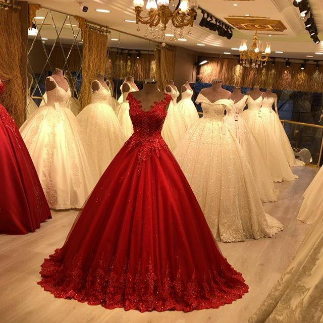 Red V-neck   Prom     Dresses   Sleeveless Lace Appliques Beaded Tulle Evening   Dresses   New Vestidos De Formal Party Gowns 2020