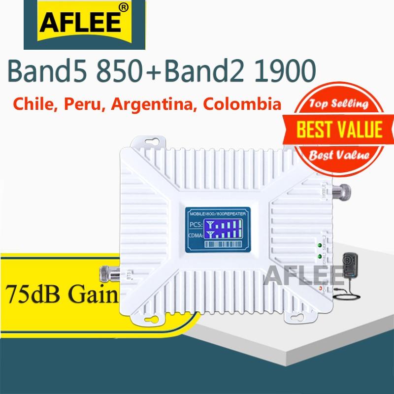 2G 3G 850 1900 GSM 850 PCS 1900MHz 4G Cellular Signal Booster Repeater Band 2 UMTS 1900 CDMA 850 Amplifier Repetidor