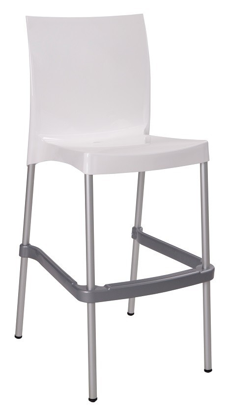 Stool NICAL, Stackable, Polypropylene White Luster
