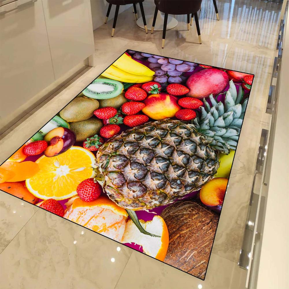Else Pineapple Orange Strawberry Fruits 3d Print Non Slip Microfiber Kitchen Modern Decorative Washable Area Rug Mat