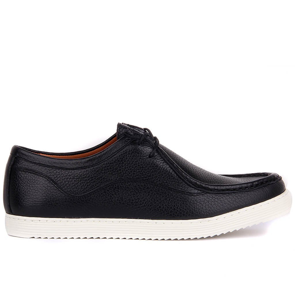 Sail-Lakers Black Leather Lace-Up Men Casual Shoes