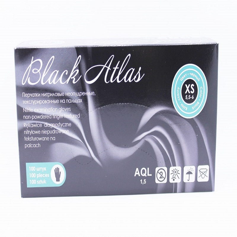 Gloves Nitrile XS (50 Pairs) Black Atlas,100 Pcs