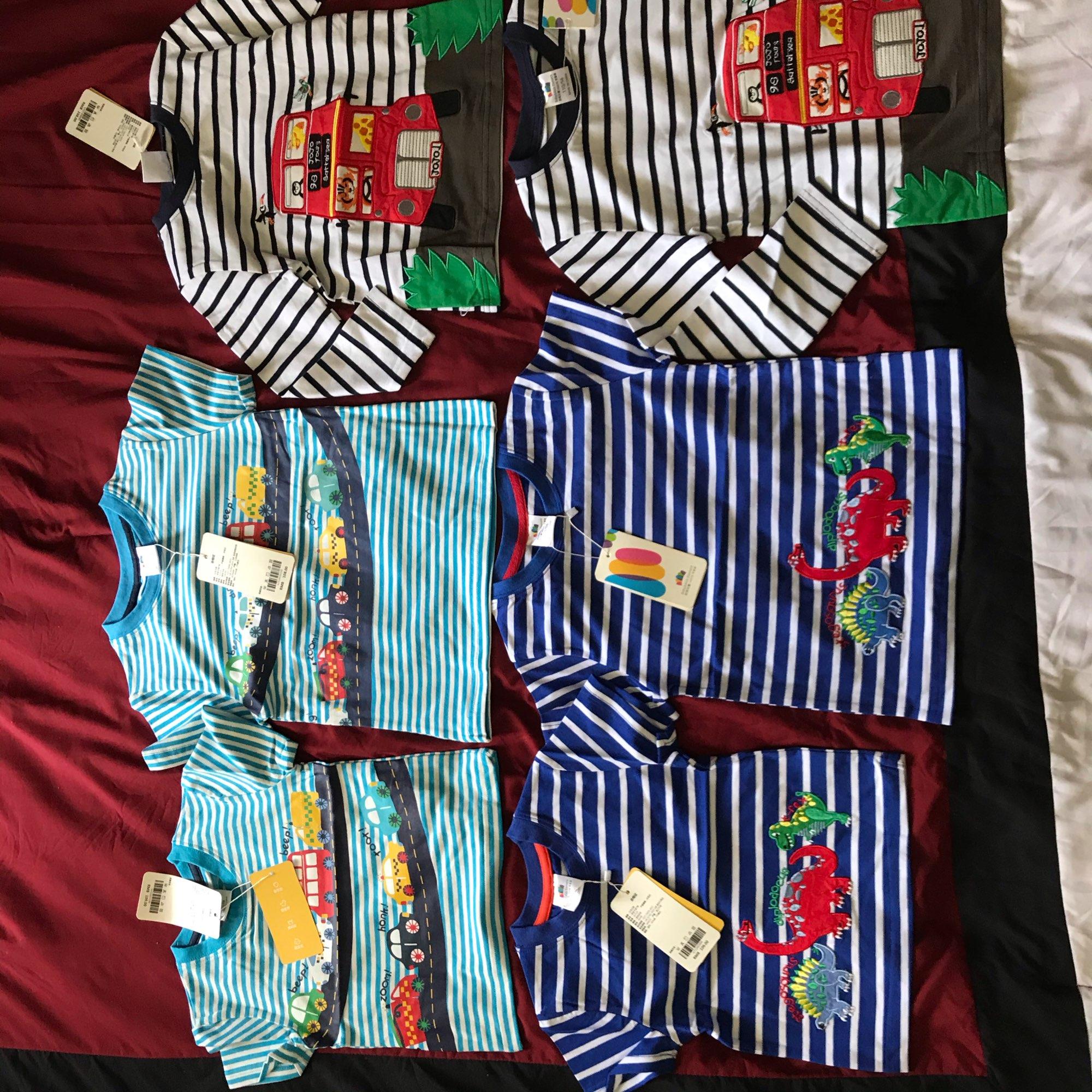 2021 Summer 2-10T Children'S Birthday Clothing Dinosaur Car Striped Print Short Sleeve Basic Tops Cartoon T Shirt For Kids Boy photo review