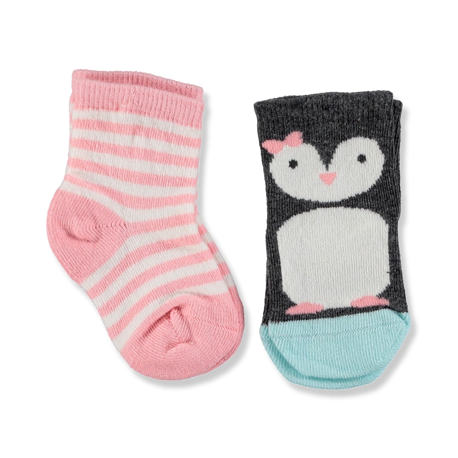 Ebebek Step 2 Pack Baby Socks Striped Penguin