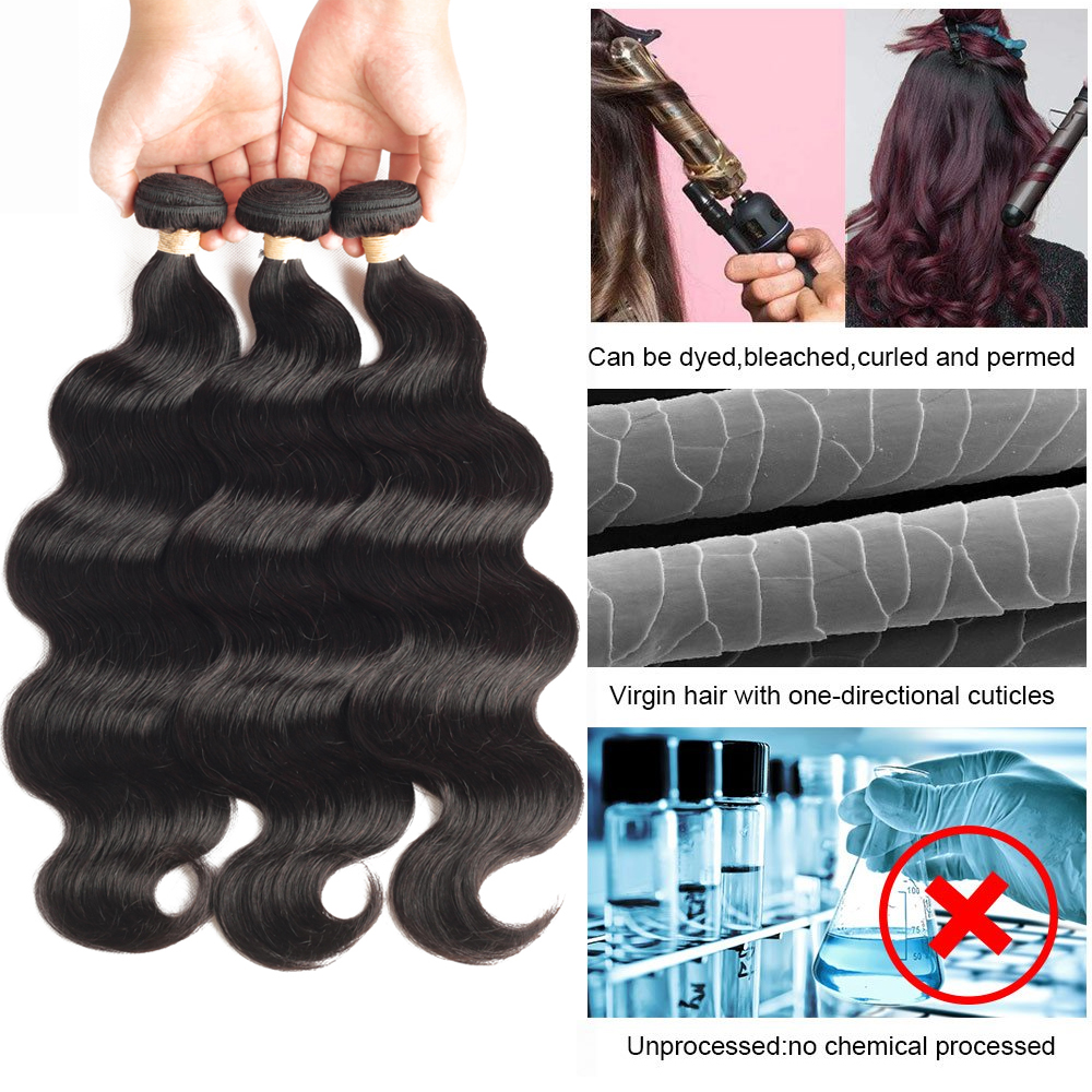 "Body Wave Hair Bundles Natural Black&Jet Black   Bundles 1/3/4 Piece 8-30""  Hair s 4"