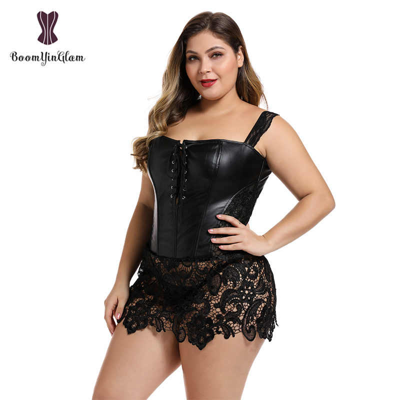Back Zipper Women's Gothic Lace Up Front Punk Faux Leather   Bustier     Corset   Dress Plus Size Lingerie 903#