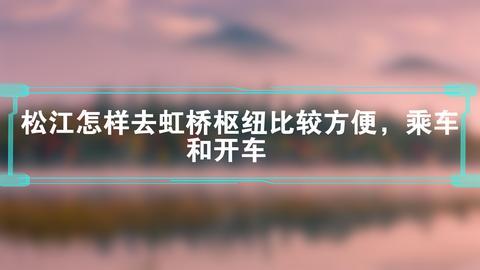 松江怎样去虹桥枢纽比较方便,乘车和开车