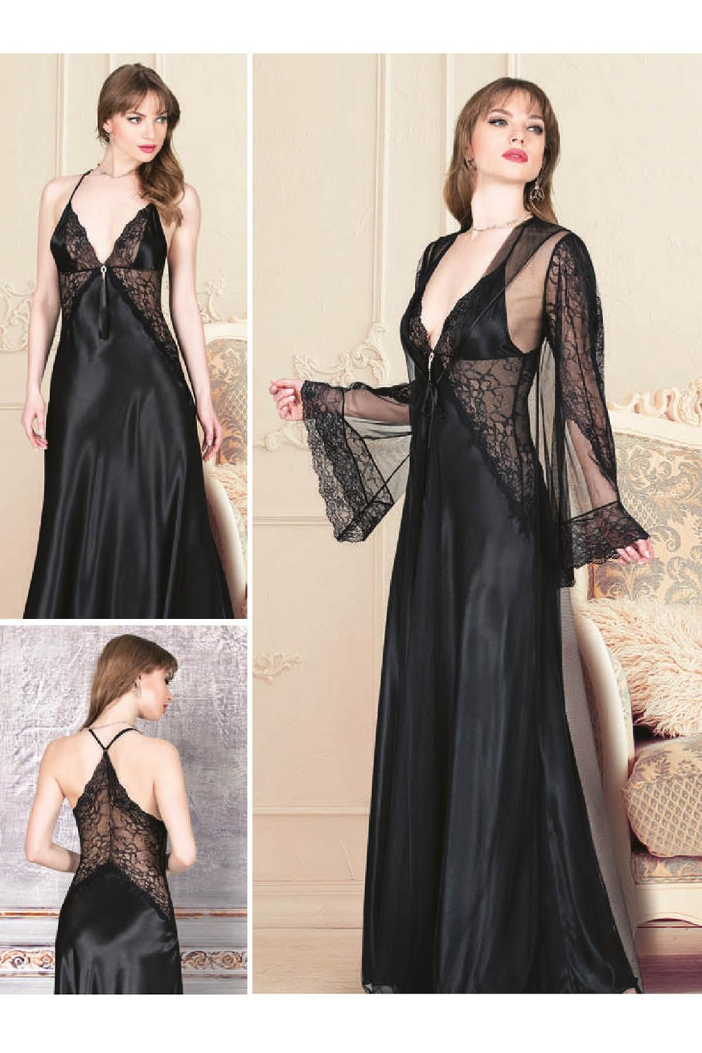 For drams Women's Satin Ruched Long Rope Hanger 2 Piece Nightgown Dress Set 4941