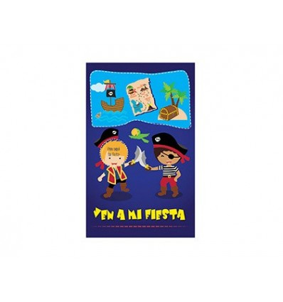 INVITATION TO MY PARTY ARGUVAL PIRATES DIE CUT BLISTER 8 UNITS