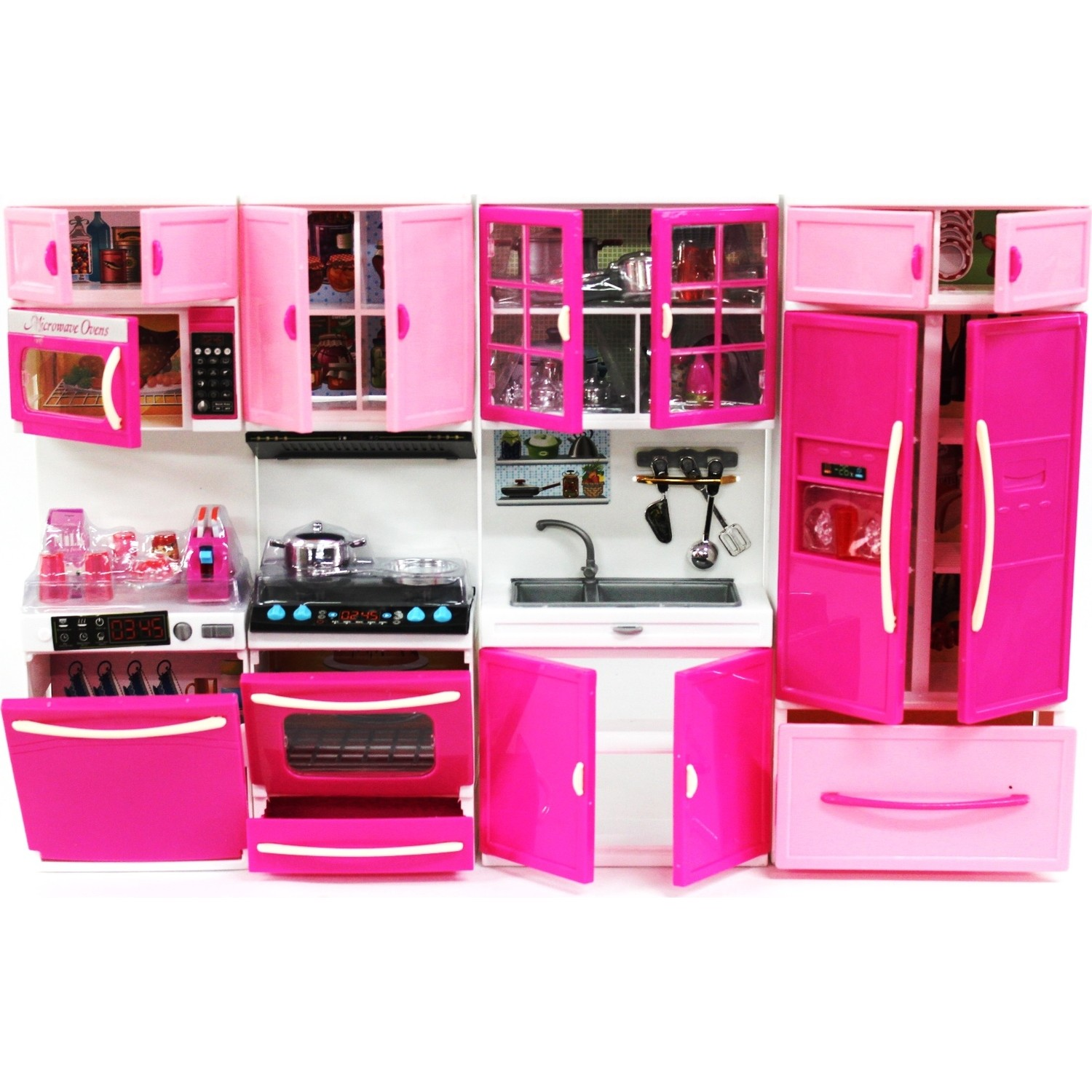 Kitchen Toys Girl Gift Child Playset 4 in 1 Set Montessori Kids Doll House Cooking Cabinet Hello Kitty Barbie House Accessories