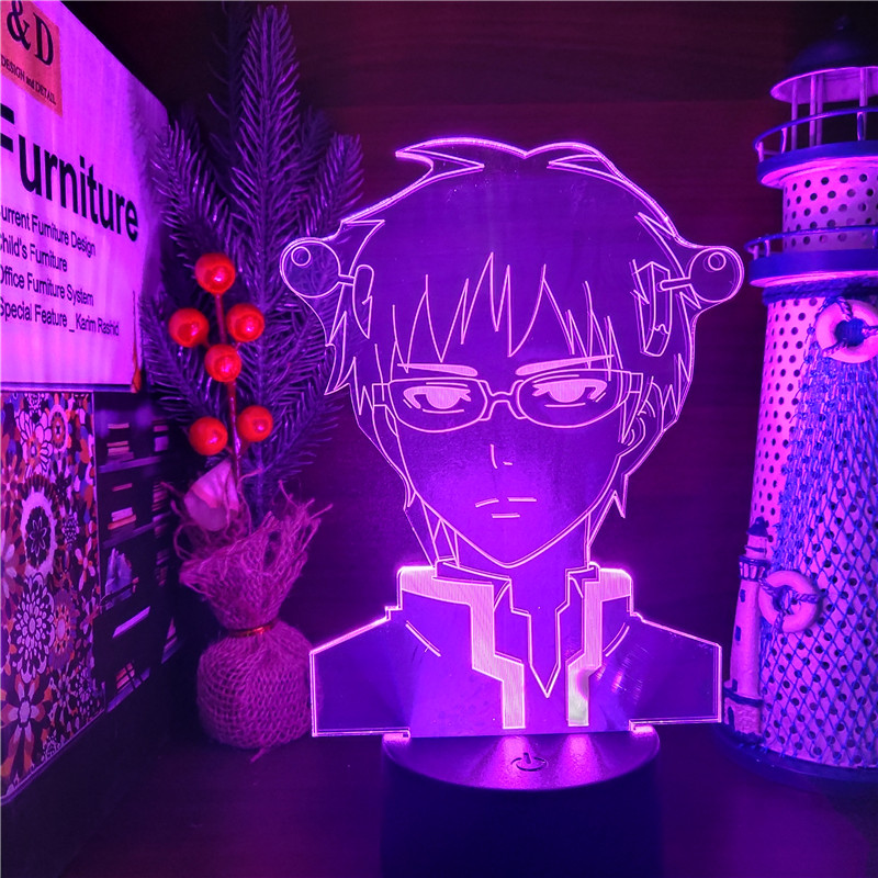 The Disastrous Life of Saiki K Led Anime Lamp 3D Illusion Nightlights Color Changing Table Lamp For Christmas Gift