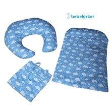 3'lü Set Bottom Opening Cushion Breastfeeding Pillow and Bib
