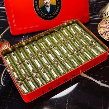 Tradycyjne świeże pyszne premium turecka księżniczka baklava z pistacją Deser baklawa znana marka turecka baklawa tanie i dobre opinie HAFIZ MUSTAFA TR (pochodzenie) Gotowanie pochodnie Narzędzia do deserów