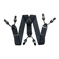 Подтяжки для брюк широкие (4 см, 6 клипс, Черный) 55135