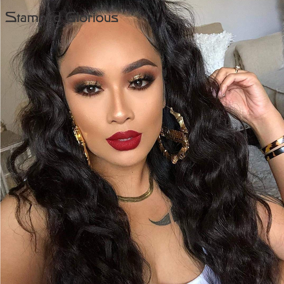 Stamped Glorious Lace Front Wigs Black Pre Plucked Natural Hairline Wavy Wig For Afro Women 20 Inches Heat Risistant Fiber Hair