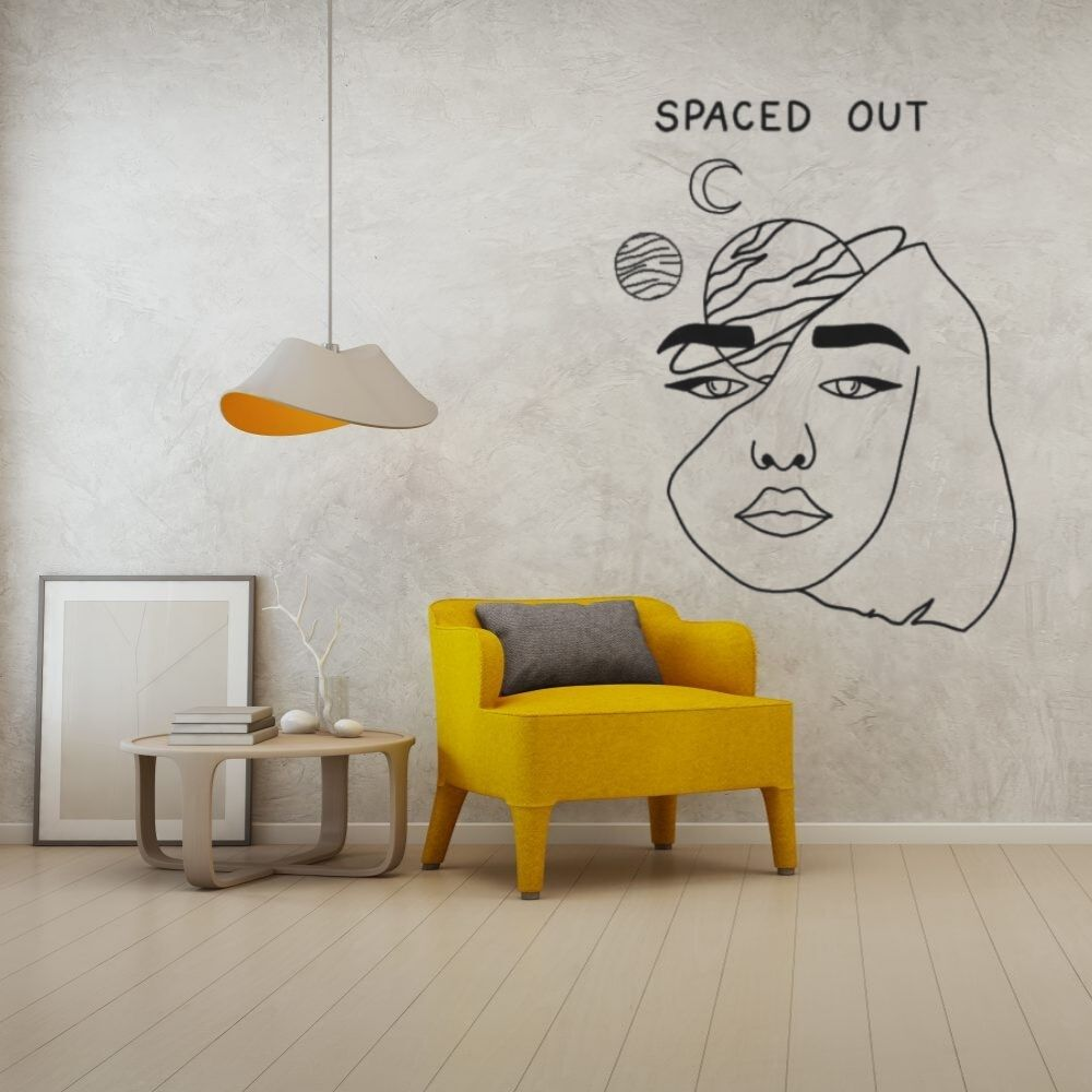 Space Out Silhouette Wall Sticker Art Aesthetic Home Bedroom Room Decoration A001330