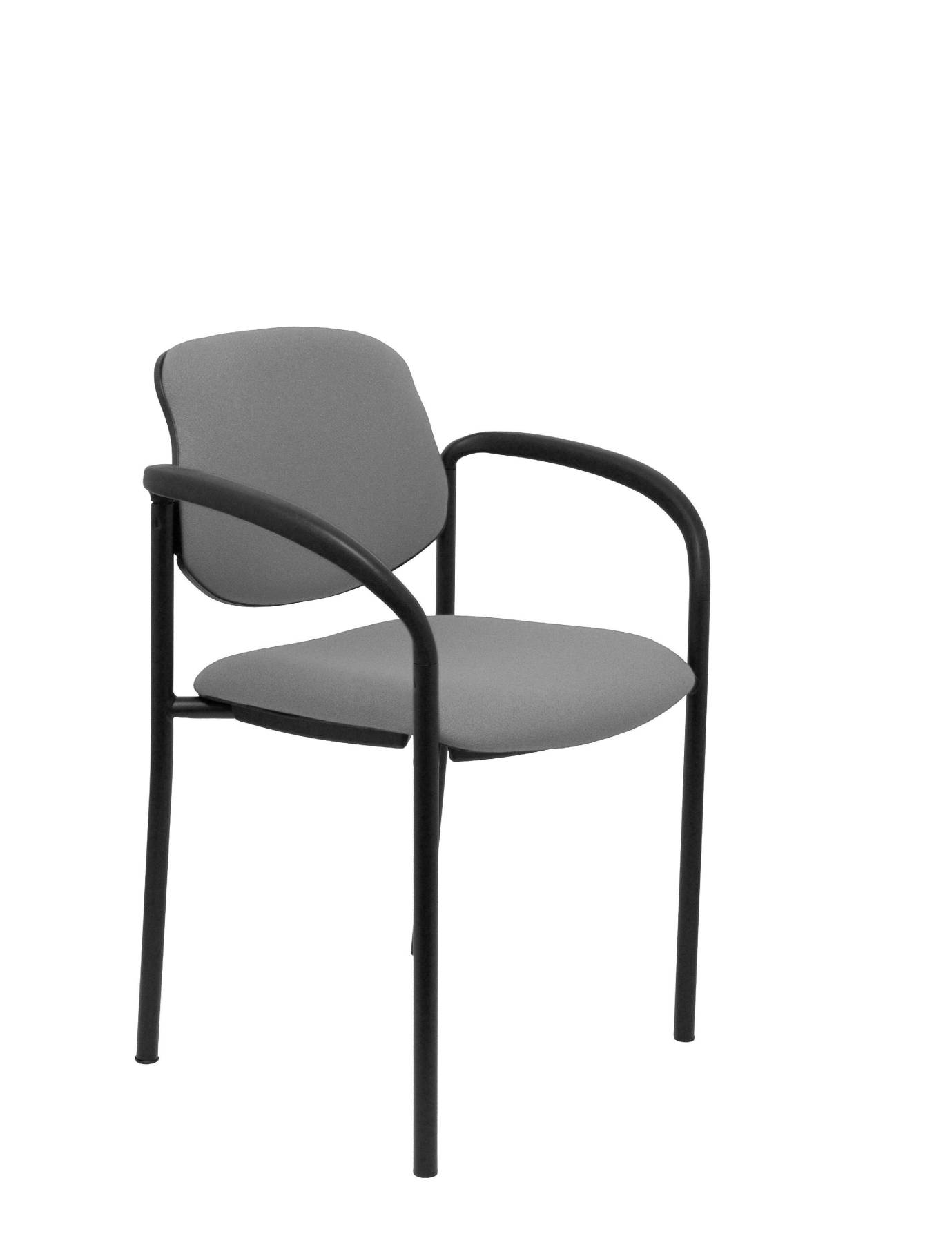 Visitor Chair 4's Topsy, With Arms And Estructrua Negro-up Seat And Backstop Upholstered In BALI Tissue Gray Color PIQU