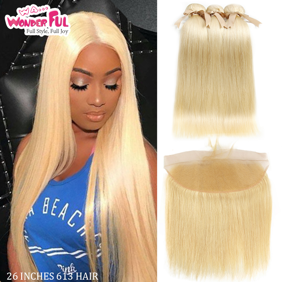 613 Blonde Bundles With Closure Highlight Straight Human Hair Bundles With Frontal Blonde 3 Bundles And Closure Hair Extensions image
