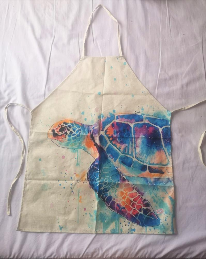 Printed Fish Turtle Kitchen Apron photo review