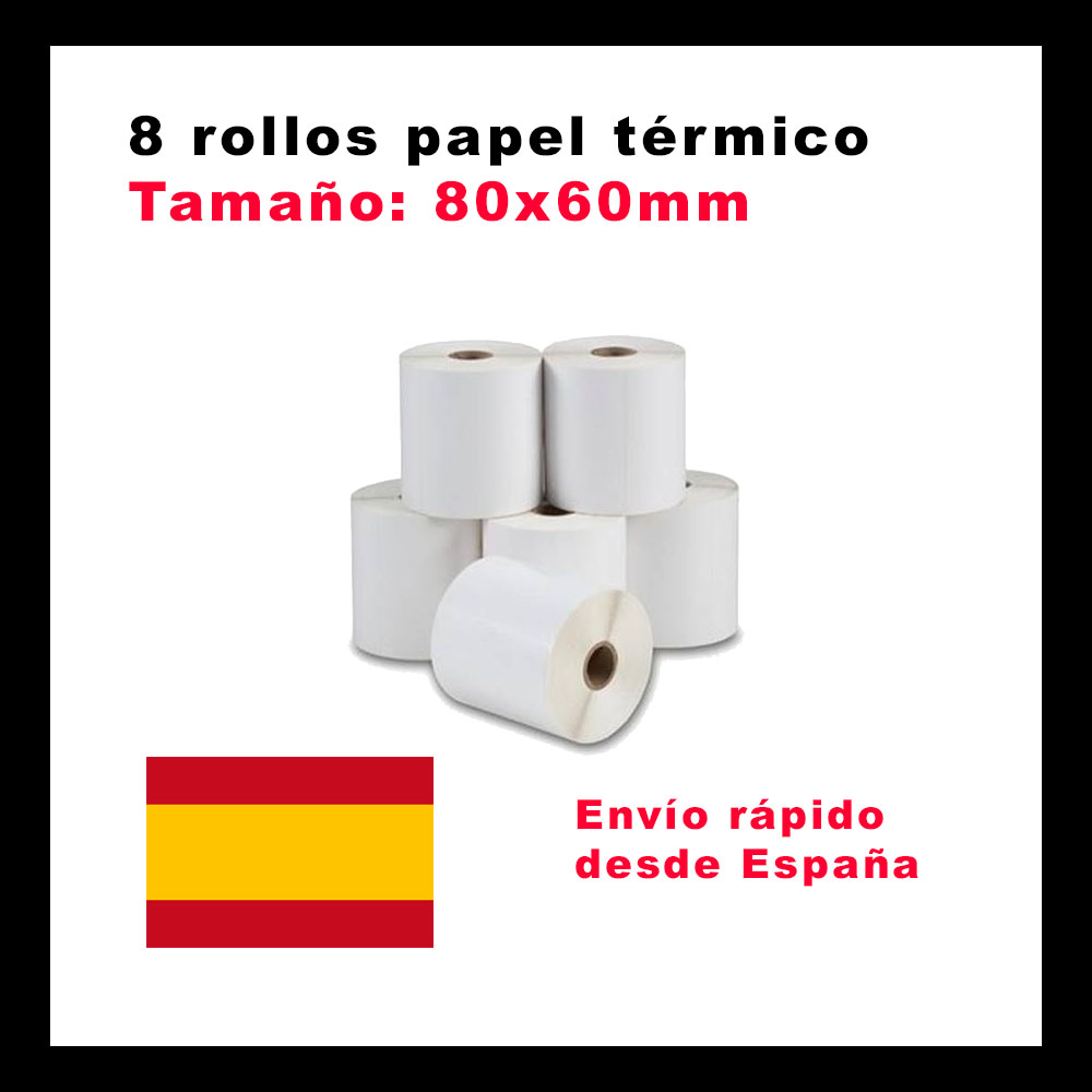 8 Thermic Paper Rolls For Printers Thermal Tpv's's Paper 80mm 80x60mm Paper Tickets. 8 Rolls Tickets Thermic