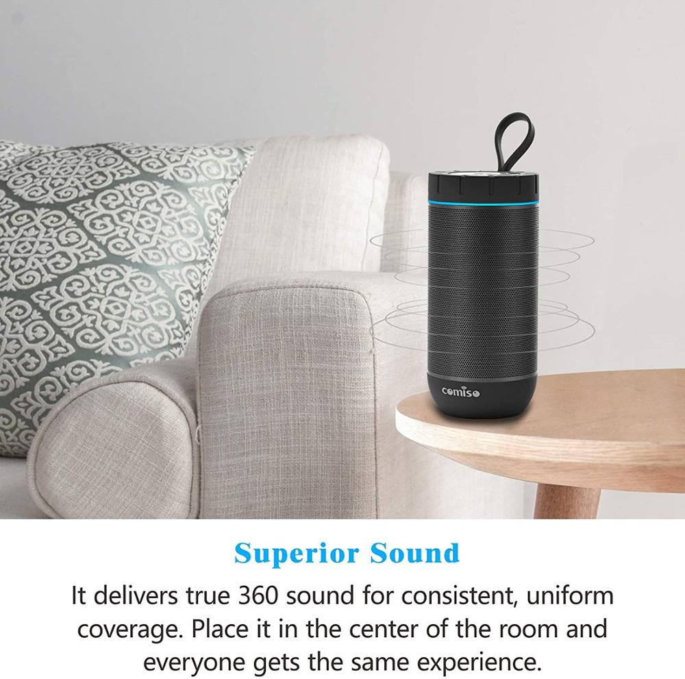 COMISO Waterproof Bluetooth Speakers Outdoor Wireless Portable Speaker with 20 Hours Playtime Superior Sound speaker for iphone 5