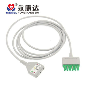 Compatible Drager 6 pin leadwire to Din 3lead ecg cable