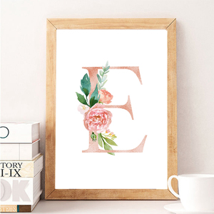 Baby Girl Personalized Gift Print Nursery Art Custom Girl's Name Sign Canvas Painting Floral Monogram Flowers Poster Wall Decor(China)