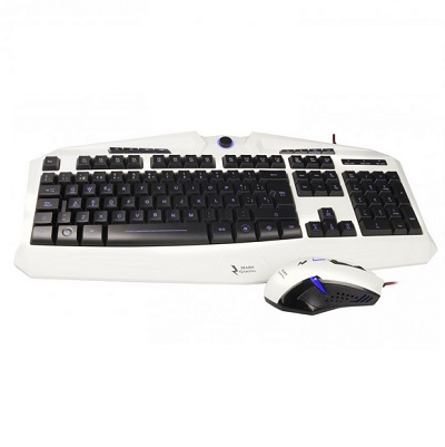 Pack Teclado AND Mouse Mars Gaming Zeus Mcpze1 Edition Color White AND Black Mouse 6botones Backlit Teclado Iluminac