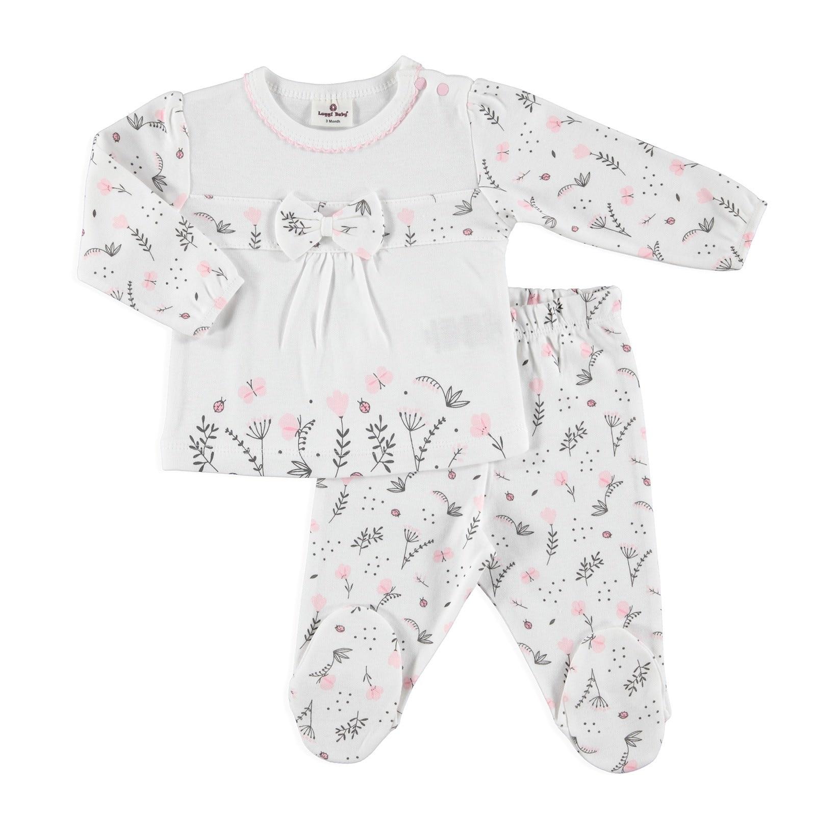 Ebebek Luggi Winter Baby Girl Organic Flower Bowtie Footed Pyjamas Set