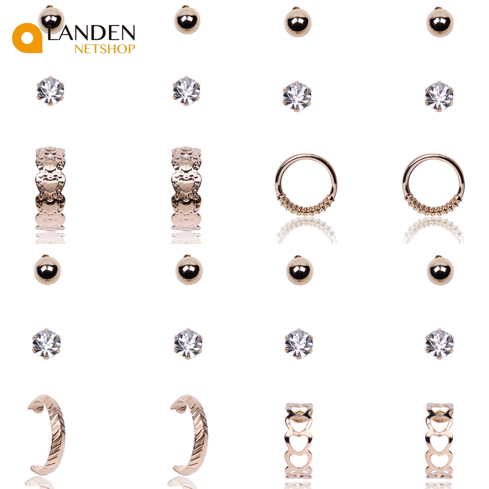 3 Par/set Crystal Earrings With Golden Color A Fashion For Women Piercing Dependent Middle Ring LANDEN NETSHOP