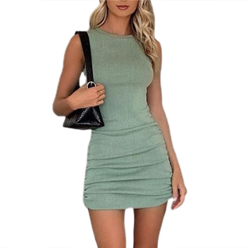 Women Elegant Short Sleeve Drawstring Dresses Cotton Ruched Drawstring Sexy Party Dress Tie Dye Skinny Elegant Dress Summer 2020 13