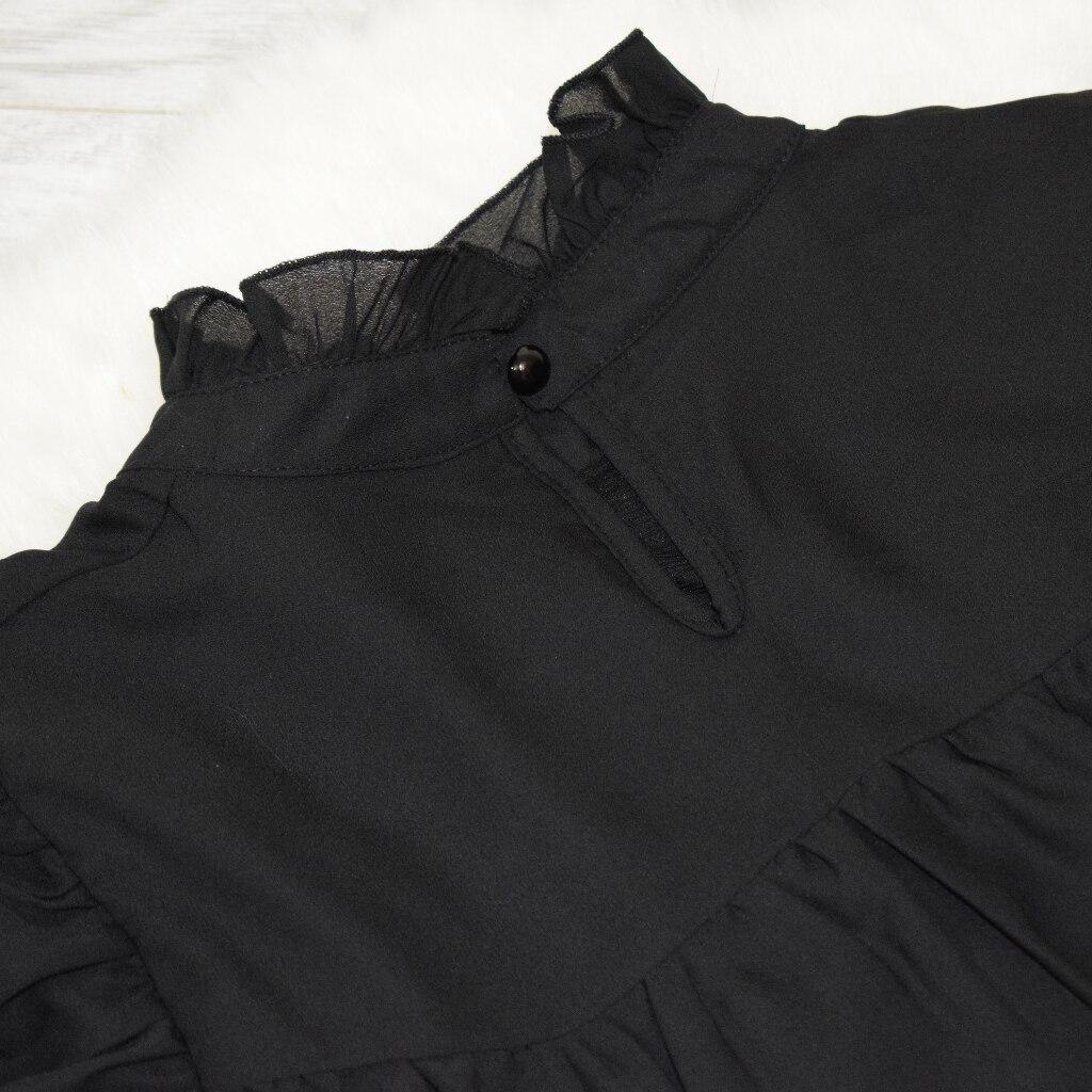Hot 2019 autumn new fashion women's temperament commuter puff sleeve small high collar natural A word knee Chiffon dress reviews №7 342822