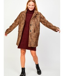 LEOPARD PRINT WRAP Jacket Long Women Fashions Parka elegant