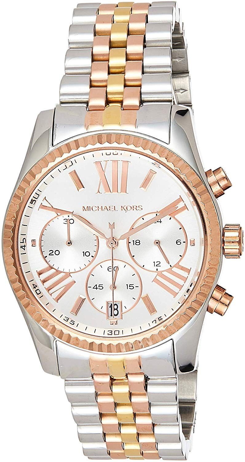 Michael Kors Women's MK5735 - Sport Lexington Chronograph Tri-Tone Authentic Original & Brand New MICHAEL KORS MK LOGO