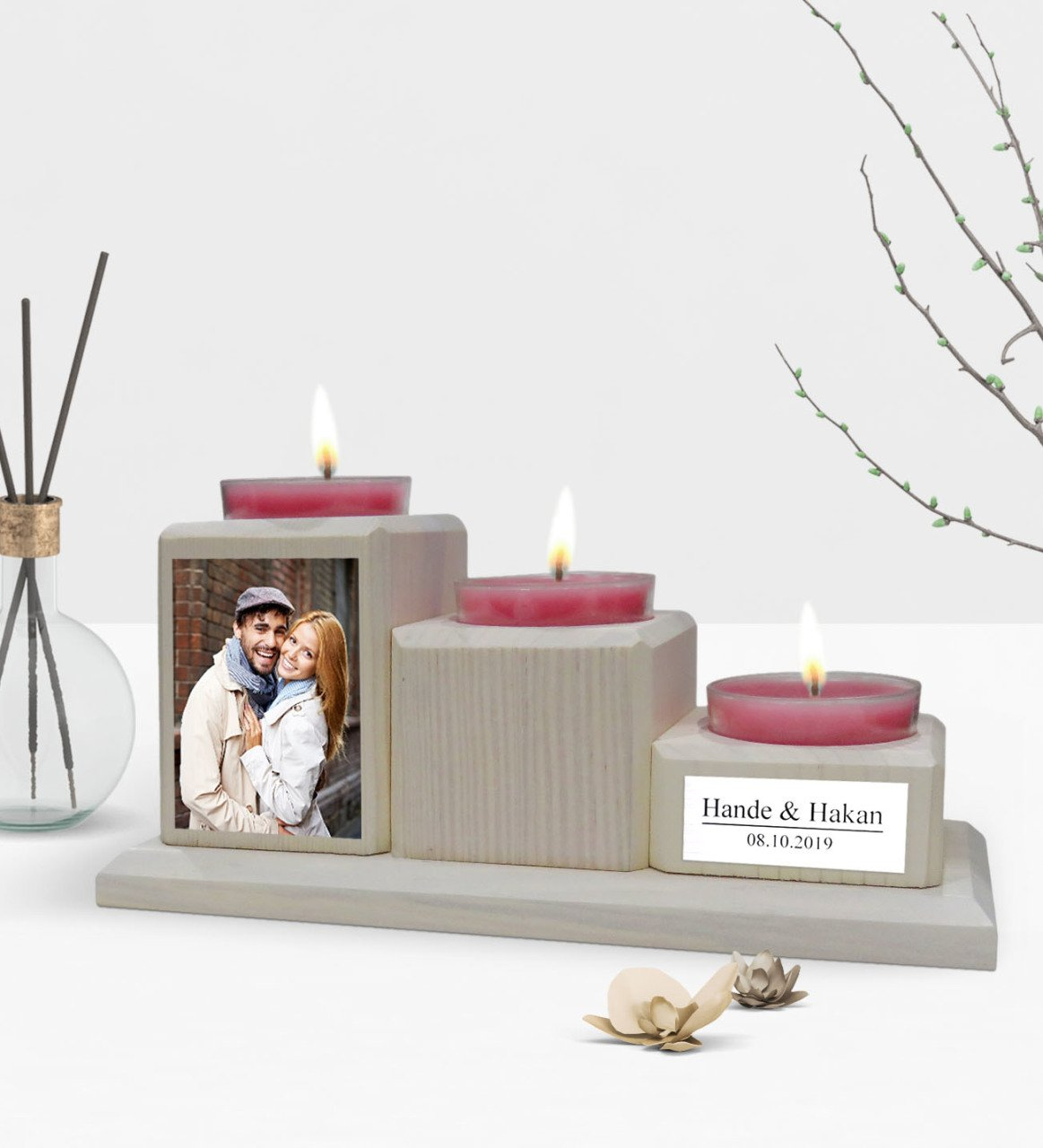 Personalized Is Photo Decorative 3 Layer Natural Wooden Candle Holder-Vintage White