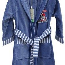 Children's Bathrobe Sport Watch Men 100% organic Cotton Blue Red Gray Bath Kimono Maximum Absorbency 3-14 age